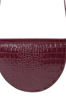 GAWOR - Skórzana torebka nerka bordo krokodyl