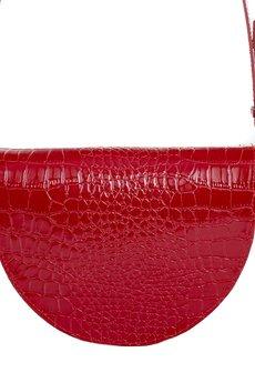 GAWOR - Skórzana torebka nerka czerwony krokodyl