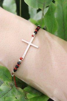 Brazi Druse Jewelry - Bransoletka Spinel Krzyż srebro