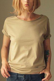 ONE MUG A DAY - Ciemny piasek zgaszony oversize tshirt s-xl