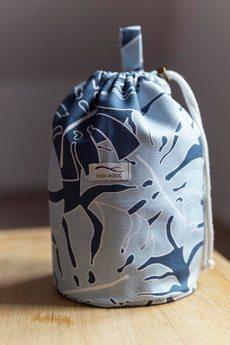 Oak Root - Zestaw 2 kosmetyczek w liście monstery - niebieski
