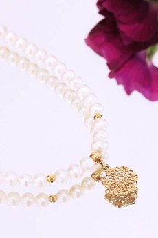 Brazi Druse Jewelry - Colare Perły Rozeta złoto