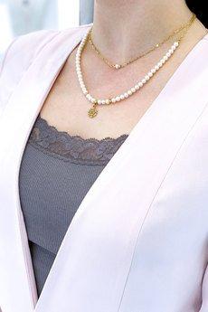 Brazi Druse Jewelry - Colare Perły Łańcuszek złoto