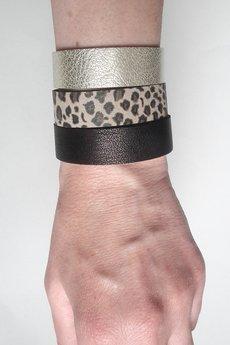 Mikashka - Komplet trzech bransoletek skórzanych panterka bab