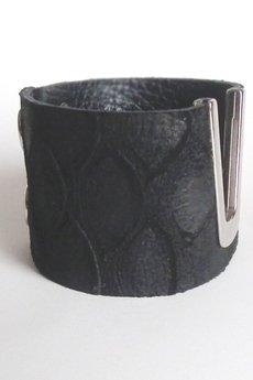 Mikashka - Bransoleta skórzana czarna krokodyl V
