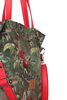 Karolina Audycka - Duża zielona torba w kwiaty i pszczoły