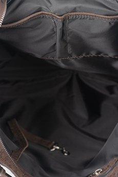 GAWOR - Skórzana torebka worek brąz krokodyl