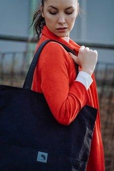 Karolina Audycka - Duża czarna zamszowa torba w kształcie prostokąta