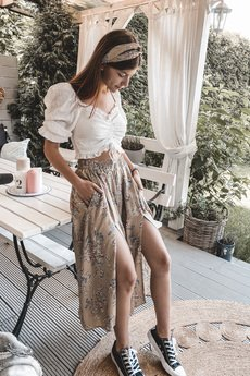 Elevenstory - Spódnica z rozporkami  REBECCA MATTE BEIGE