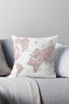 Magic Home Makers - Mapa w Różu poszewka na poduszkę