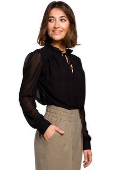 Style - Bluzka szyfonowa gładka z długimi rękawami - S212