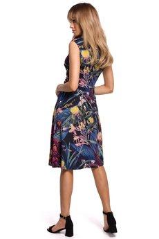 MOE - Sukienka we wzór rozkloszowana - M499