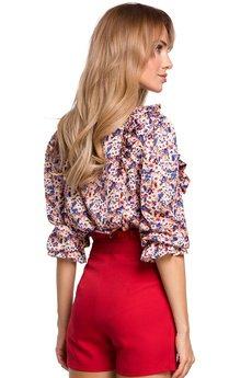 MOE - Bluzka w kwiatuszki z falbankami - M504