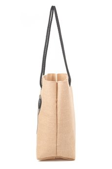 GAWOR - Lniana torba beż ciemny + naszywki