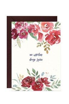 PAPERWORDS - Kartka ślubna z bordowymi kwiatami