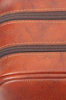 GAWOR - Skórzana męska kosmetyczka brązowa dwie komory