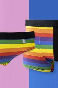 HisOutfit - Bokserki męskie z bawełny z printem TĘCZA