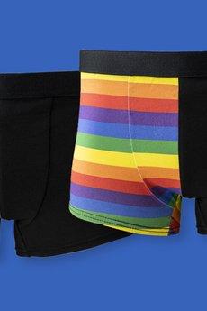 HisOutfit - Bokserki męskie z bawełny z printem TĘCZA dla pary