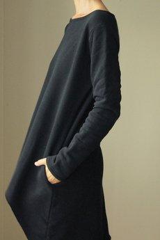ONE MUG A DAY - Sukienka tył przód asymetryczna gruba czarna