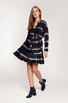 OrienteGlamour - Sukienka koszulowa LIVIA czarna w białe pasy