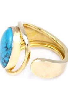 Brazi Druse Jewelry - InspiRING Turkus Naturalny złoto rozmiar 17 - 20
