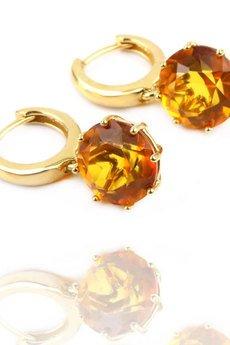 Brazi Druse Jewelry - Earrings Bursztyn Brylantowy Okrągły złoto