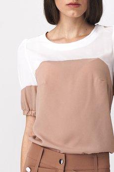 Nife - NIFE Dwukolorowa bluzka z bufiastym rękawem (B115)