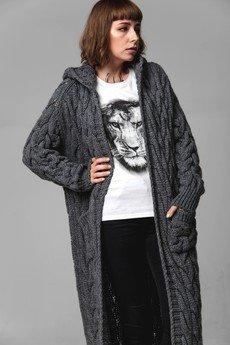 Underworld - Długi sweter UNDERWORLD z warkoczowym splotem