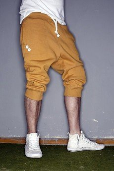 Button - SHORT PANTS 3/4 BUTTONS UNISEX kolory musztardowe