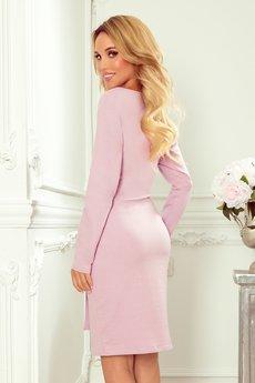 numoco - 209-7 Sukienka z szerokim wiązanym paskiem - wrzos