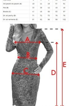 numoco - 170-8 Koronkowa sukienka z długim rękawkiem