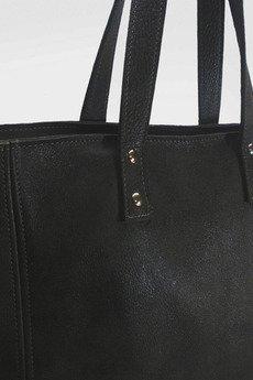 pracownia6-9 - Skórzana czarna TINA duża torebka damska