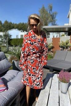 HisOutfit - Szlafrok kimono z wiskozy w piękny kwiatowy wzór