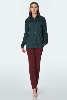 Nife - NIFE Zielona koszula satynowa (K56)