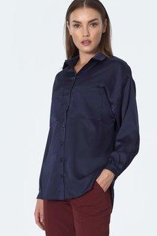 Nife - NIFE Granatowa koszula satynowa (K56)