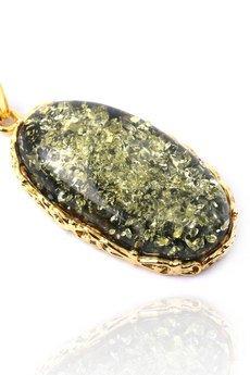 Brazi Druse Jewelry - Colare Bursztyn Królewski Zielony złoto