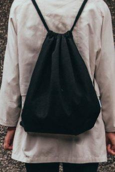 Szczypta - Czarny worek bawełniany z kieszenią wewnętrzną - Szczypta