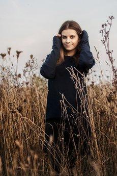 ONE MUG A DAY - Bluza tunika asymetryczna Frak prostokąt Granatowy