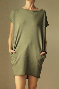 ONE MUG A DAY - Sukienka dresowa Oversize Oliwka Bez rękawów