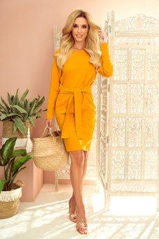 numoco - 209-8 Sukienka z szerokim wiązanym paskiem
