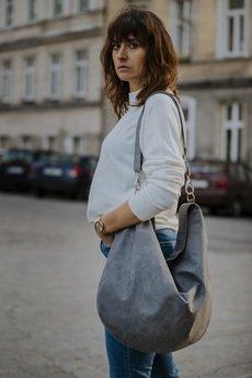 Karolina Audycka - Szara torba worek z zamszu ekologicznego