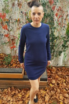 Slogan ubrania ekologiczne, etyczne i wegańskie - SLOGAN Rose dark blue melange sukienka damska