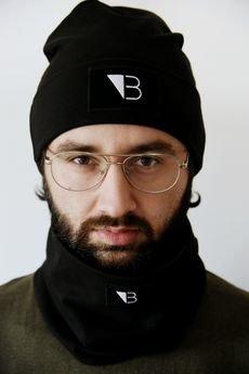 Lucas Brondel - Czarna bawełniana czapka wywijana z logo/unisex