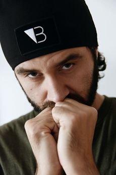 Lucas Brondel - Czarna bawełniana czapka smerf z logo/unisex