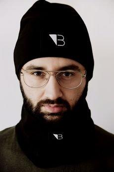 Lucas Brondel - Czarny bawełniany zestaw czapka smerf+komin/unisex