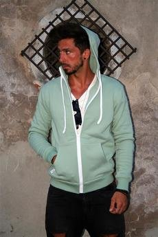 Button - Hoodie simple bluza z kapturem miętowa mięta