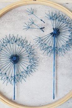 Pejotka - Dmuchawce turkusowe - haft na tiulu