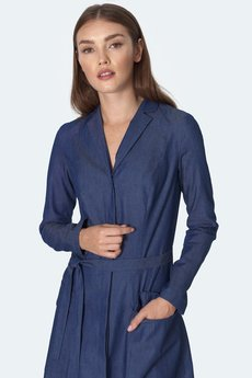 Nife - nife  Jeansowa sukienka midi (S152)