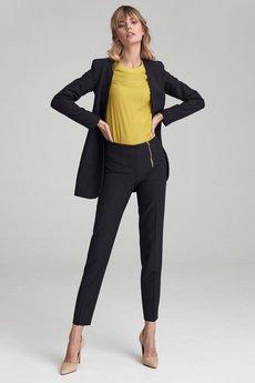 Nife - Klasyczne czarne spodnie z zamkiem (SD56)