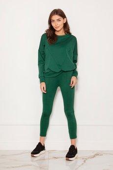 MKM swetry - Spodnie cygaretki w kant, SD123 zielony